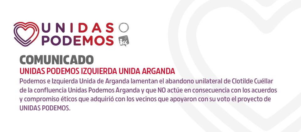 Comunicado Unidas Podemos abandono de Clotilde Cuéllar del grupo municipal