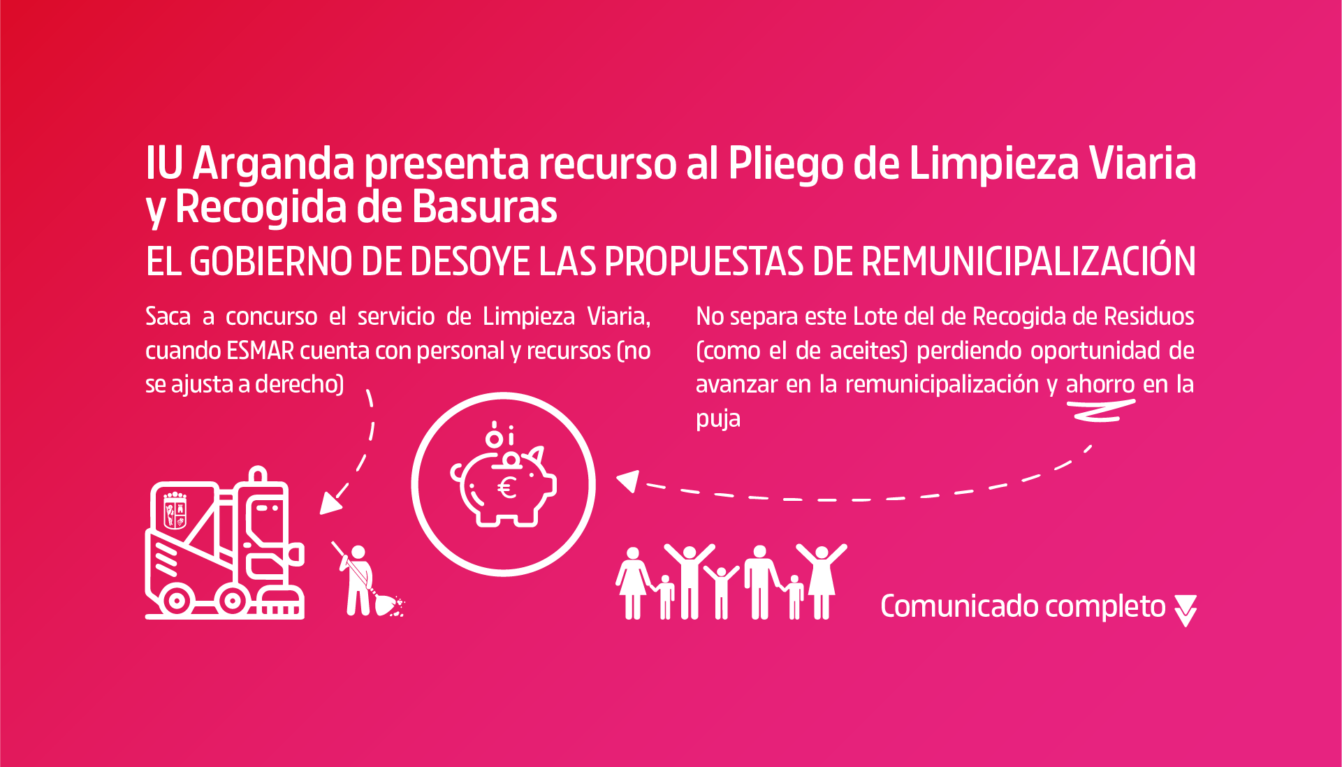 IU Arganda presenta un recurso especial al Tribunal Administrativo de Contratación Pública de la Comunidad de Madrid por el nuevo Pliego de Limpieza Viaria y Recogida de Basuras
